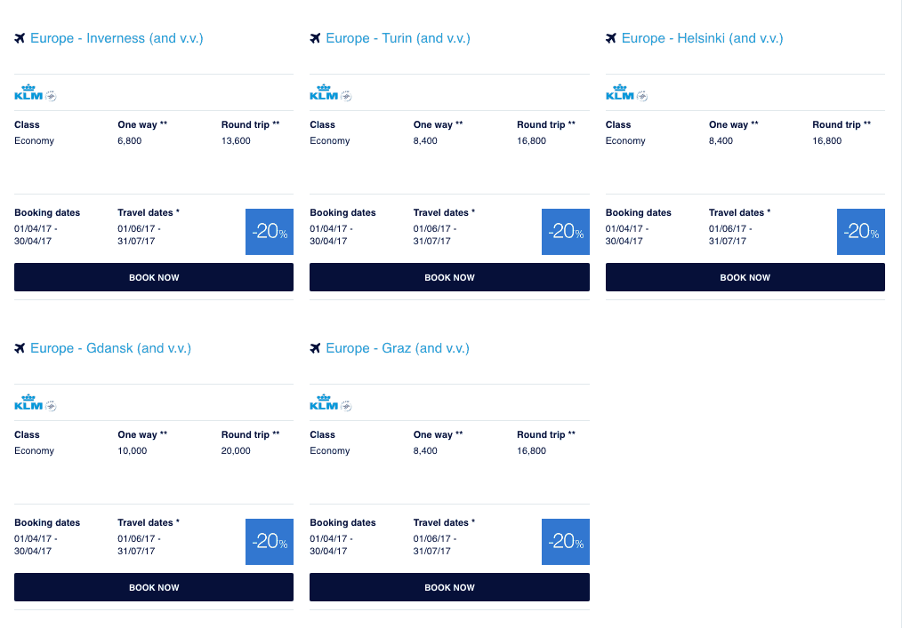 klm promo awards out for june and july