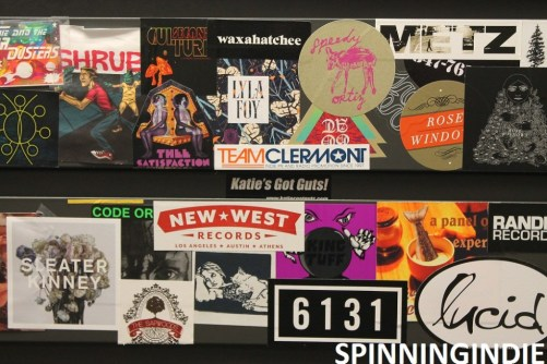 Sticker-covered cabinet at KRLX. Photo: J. Waits