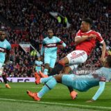 during the Emirates FA Cup sixth round match between Manchester United and West Ham United at Old Trafford on March 13, 2016 in Manchester, England.