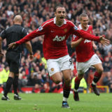 MANCHESTER, ENGLAND - SEPTEMBER 19:  Dimitar Berbatov of Manchester United celebrates scoring their first goal during the Barclays Premier League match between Manchester United and Liverpool at Old Trafford on September 19, 2010 in Manchester, England.  (Photo by John Peters/Manchester United via Getty Images)