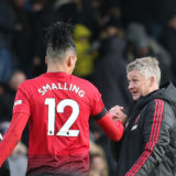 LONDON, ENGLAND - FEBRUARY 09: Caretaker Manager Ole Gunnar Solskjaer of Manchester United celebrates with Chris Smallingafter the Premier League match between Fulham FC and Manchester United at Craven Cottage on February 09, 2019 in London, United Kingdom. (Photo by Tom Purslow/Manchester United via Getty Images)