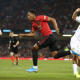 CARDIFF, WALES - AUGUST 03: Anthony Martial of Manchester United in action with Davide Calabria of AC Milan during the 2019 International Champions Cup match between Manchester United and AC Milan at Principality Stadium on August 03, 2019 in Cardiff, Wales. (Photo by Matthew Peters/Manchester United via Getty Images)