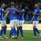 SHEFFIELD, ENGLAND - AUGUST 07: Maxime Colin (C) of Birmingham City celebrates scoring with teamates during the Sky Bet Championship match between Sheffield United and Birmingham City at Bramall Lane on August 7, 2021 in Sheffield, England. (Photo by Nigel Roddis/Getty Images)