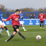 HALEWOOD, ENGLAND - MARCH 20: Daniel Gore of Manchester United U18s in action during the U18s Premier League match between Everton U18s and Manchester United U18s at USM Finch Farm on March 20, 2021 in Halewood, England. (Photo by John Peters/Manchester United via Getty Images)