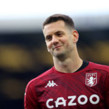 LIVERPOOL, ENGLAND - MAY 01: Tom Heaton of Aston Villa warms up prior to the Premier League match between Everton and Aston Villa at Goodison Park on May 01, 2021 in Liverpool, England. Sporting stadiums around the UK remain under strict restrictions due to the Coronavirus Pandemic as Government social distancing laws prohibit fans inside venues resulting in games being played behind closed doors. (Photo by Naomi Baker/Getty Images)