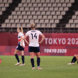 KASHIMA, JAPAN - JULY 30: Millie Bright #14 of Team Great Britain  looks dejected after the Women's Quarter Final match between Great Britain and Australia on day seven of the Tokyo 2020 Olympic Games at Kashima Stadium on July 30, 2021 in Kashima, Ibaraki, Japan. (Photo by Atsushi Tomura/Getty Images)
