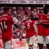 MANCHESTER, ENGLAND - SEPTEMBER 11: Jesse Lingard of Manchester United celebrates scoring their fouth goal during the Premier League match between Manchester United and Newcastle United at Old Trafford on September 11, 2021 in Manchester, England. (Photo by Ash Donelon/Manchester United via Getty Images)