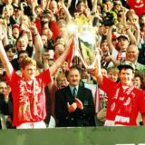 MANCHESTER, ENGLAND - MAY 8:  Steve Bruce and Bryan Robson of Manchester United lift the Premiership Trophy after becoming FA Carling Premiership Winners in the 1993-94 season at Old Trafford on May 8, 1994. Manchester United 0 Coventry City 0  (Photo by John Peters/Manchester United via Getty Images)