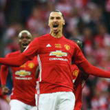 LONDON, ENGLAND - FEBRUARY 26:  Zlatan Ibrahimovic of Manchester United (9) celebrates as he scores their first goal during the EFL Cup Final match between Manchester United and Southampton at Wembley Stadium on February 26, 2017 in London, England.  (Photo by Michael Steele/Getty Images)