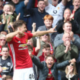 MANCHESTER, ENGLAND - MAY 21: Josh Harrop of Manchester United celebrates scoring their first goal during the Premier League match between Manchester United and Crystal Palace at Old Trafford on May 21, 2017 in Manchester, England.  (Photo by Matthew Peters/Manchester United via Getty Images)