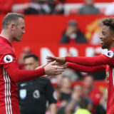 MANCHESTER, ENGLAND - MAY 21:  Wayne Rooney of Manchester United is replaced by Angel Gomes during the Premier League match between Manchester United and Crystal Palace at Old Trafford on May 21, 2017 in Manchester, England.  (Photo by Matthew Peters/Manchester United via Getty Images)
