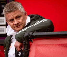MANCHESTER, ENGLAND - MAY 13:   Manchester United Head Coach / Manager Ole Gunnar Solskjaer looks on prior to the Premier League match between Manchester United and Liverpool at Old Trafford on May 2, 2021 in Manchester, United Kingdom. Sporting stadiums around the UK remain under strict restrictions due to the Coronavirus Pandemic as Government social distancing laws prohibit fans inside venues resulting in games being played behind closed doors. (Photo by Ash Donelon/Manchester United via Getty Images)