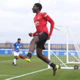 HALEWOOD, ENGLAND - MARCH 20: Omari Forson of Manchester United U18s celebrates scoring their first goal during the U18s Premier League match between Everton U18s and Manchester United U18s at USM Finch Farm on March 20, 2021 in Halewood, England. (Photo by John Peters/Manchester United via Getty Images)