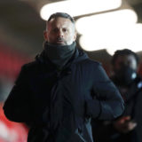 SALFORD, ENGLAND - FEBRUARY 16:  Ryan Giggs Co-owner of Salford City walks off after the Sky Bet League Two match between Salford City and Barrow at Moor Lane on February 16, 2021 in Salford, England. Sporting stadiums around the UK remain under strict restrictions due to the Coronavirus Pandemic as Government social distancing laws prohibit fans inside venues resulting in games being played behind closed doors. (Photo by Naomi Baker/Getty Images)