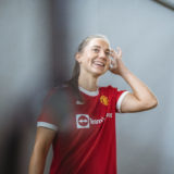 MANCHESTER, ENGLAND - JULY 20:  (EXCLUSIVE COVERAGE) Vilde Boe Risa of Manchester United poses after signing for the club at Carrington Training Ground on July 20, 2021 in Manchester, England. (Photo by Manchester United/Manchester United)