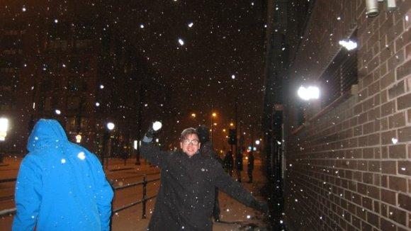 Snöbollskrig i Manchester.