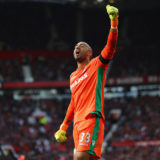 MANCHESTER, ENGLAND - OCTOBER 02: Lee Grant of Stoke City celebrates after the final whistle during the Premier League match between Manchester United and Stoke City at Old Trafford on October 2, 2016 in Manchester, England.  (Photo by Clive Brunskill/Getty Images)
