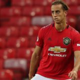 MANCHESTER, ENGLAND - AUGUST 30: Luca Ercolani of Manchester United U23s in action during the Premier League 2 match between Manchester United U23s and West Ham United U23s at Old Trafford on August 30, 2019 in Manchester, England. (Photo by John Peters/Manchester United via Getty Images)