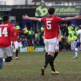 BIRKENHEAD, ENGLAND - JANUARY 26: Harry Maguire of Manchester United celebrates scoring their first goal during the FA Cup Fourth Round match between Tranmere Rovers and Manchester United at Prenton Park on January 26, 2020 in Birkenhead, England. (Photo by John Peters/Manchester United via Getty Images)