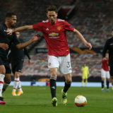 MANCHESTER, ENGLAND - APRIL 15: Nemanja Matic of Manchester United in action with Yangel Herrera of Granada CF during the UEFA Europa League Quarter Final Second Leg match between Manchester United and Granada CF at Old Trafford on April 15, 2021 in Manchester, England. Sporting stadiums around Europe remain under strict restrictions due to the Coronavirus Pandemic as Government social distancing laws prohibit fans inside venues resulting in games being played behind closed doors. (Photo by Matthew Peters/Manchester United via Getty Images)