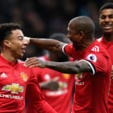 WEST BROMWICH, ENGLAND - DECEMBER 17:  Jesse Lingard of Manchester United celebrates after scoring his sides second goal with teammate Ashley Young during the Premier League match between West Bromwich Albion and Manchester United at The Hawthorns on December 17, 2017 in West Bromwich, England.  (Photo by Michael Regan/Getty Images)