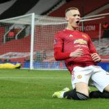 MANCHESTER, ENGLAND - FEBRUARY 09: Scott McTominay of Manchester United celebrates scoring their second goal during The Emirates FA Cup Fifth Round match between Manchester United and West Ham United at Old Trafford on February 09, 2021 in Manchester, England. Sporting stadiums around the UK remain under strict restrictions due to the Coronavirus Pandemic as Government social distancing laws prohibit fans inside venues resulting in games being played behind closed doors. (Photo by Matthew Peters/Manchester United via Getty Images)