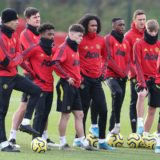 MANCHESTER, ENGLAND - JANUARY 10: (EXCLUSIVE COVERAGE) Diogo Dalot, Mason Greenwood, Harry Maguire, Angel Gomes, Daniel James, Tahith Chong, Aaron Wan-Bissaka, Nemanja Matic, Brandon Williams, Fred of Manchester United in action during a training session at Aon Training Complex on January 10, 2020 in Manchester, England. (Photo by Matthew Peters/Manchester United via Getty Images)
