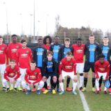 BRUGGE, BELGIUM - FEBRUARY 20: The two teams line up ahead of a friendly match between Club Brugge Youth Team and Manchester United U23s at Club Brugge Basecamp on February 20, 2020 in Brugge, Belgium. (Photo by Matthew Peters/Manchester United via Getty Images)