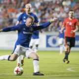 Everton's Wayne Rooney in action during the Europa League Qualifying Third Round, Second Leg soccer match between Everton and Ruzomberok in Ruzomberok, Slovakia Thursday Aug. 3, 2017. (Branislav Racko/TASR via AP)