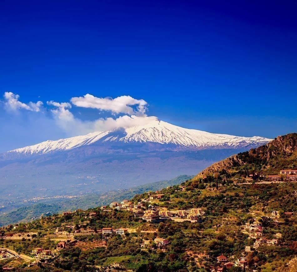 Beautiful View of volcano Etna from the town Castelmola, Sicily | Italy Travel Guide