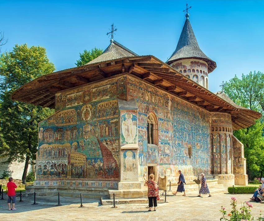 Voronet Monastery famous for Day of Judgment detailed fresco on western wall, considered by many the Sistine Chapel of the East | 5 Reasons Why Romania is the Country Every Traveler Needs to Visit