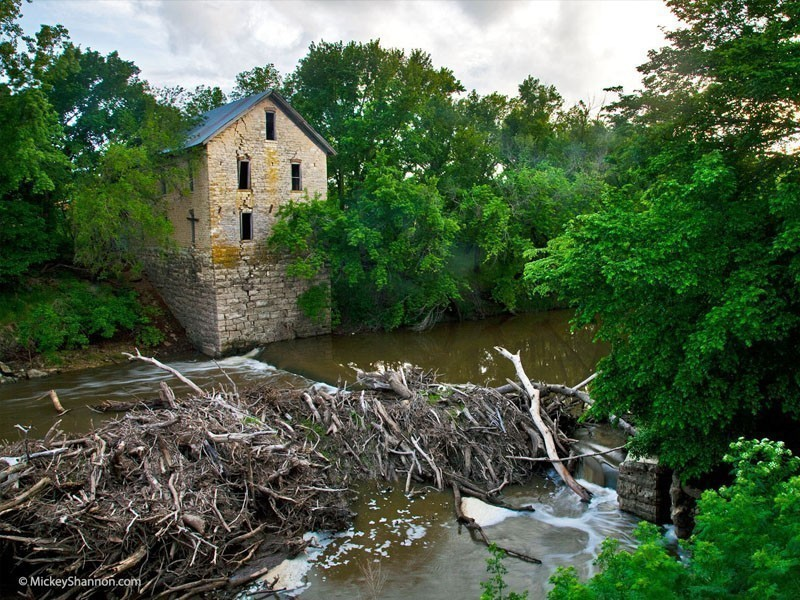 The Drinkwater And Schriver Flour Mill, otherwise commonly referred to as the Cedar Point Mill, this stone building was completed back in 1875, which is also the same time it became a genuine Kansas landmark