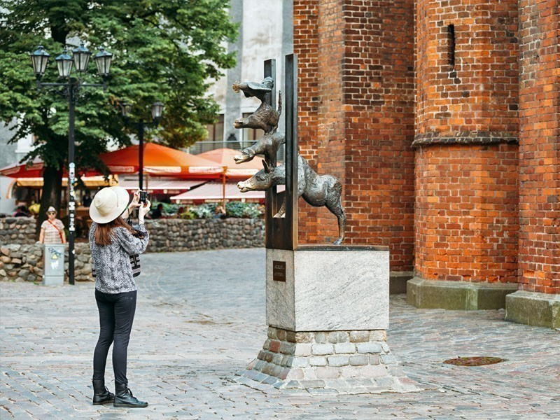 "The Monument of Bremen Town Musicians in Riga, dedicated to the characters of the well-known fairy-tale ""Bremen Town Musicians"" 