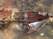 holes in the original floor from screws