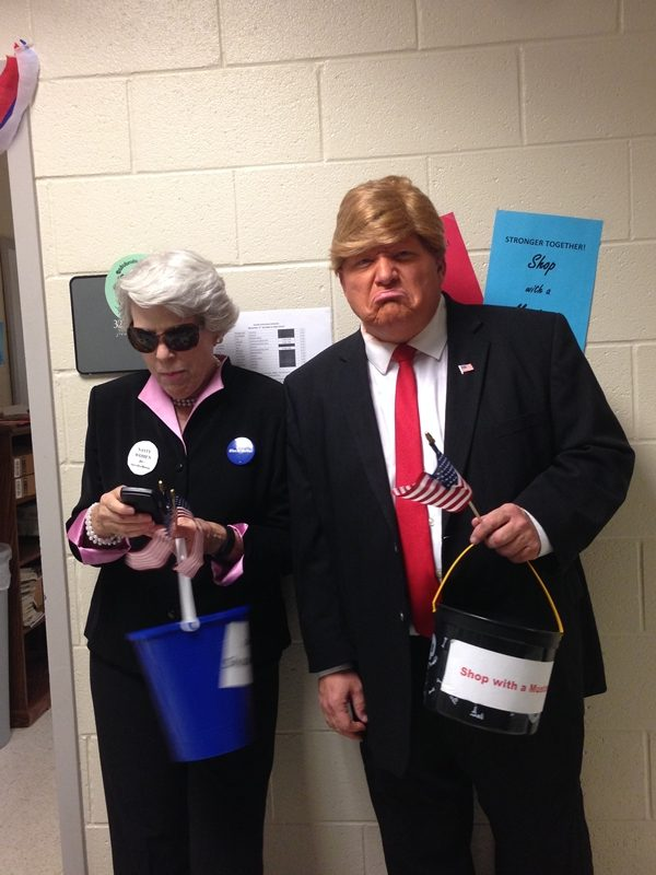 Ms.+Dye+as+Hillary+Clinton+and+Kienel+as+Donald+Trump.+