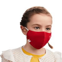 Photograph of a child wearing a HeiQ Viroblock +Multi Hi-Tech Protective Washable and Reusable Red Face Mask. HeiQ Face Mask has the words HeiQ Viroblock + Multi Hi-Tech written on one side of the mask, and a tag which says Swiss Tech Inside on the other side of the mask.