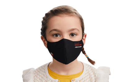 Photograph of a child wearing a HeiQ Viroblock +Multi Hi-Tech Protective Washable and Reusable Black Face Mask. HeiQ Face Mask has the words HeiQ Viroblock + Multi Hi-Tech written on one side of the mask, and a tag which says Swiss Tech Inside on the other side of the mask.
