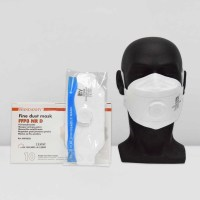 Image showing a mannequin head wearing the HY9332 FFP3 Respirator NR Valved Face Mask, next to a box of masks and an individual mask in plastic packaging.