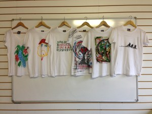 photograph of tshirts
