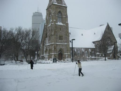 Skiing across the street