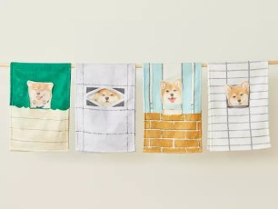 YOU+MORE!的4款可愛療癒新商品「無辜眼神注視著!從隙縫中偷看的柴犬毛巾」