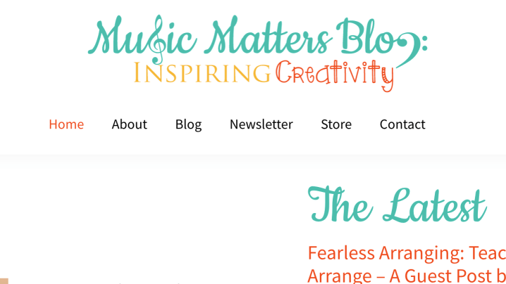 Screenshot Music Matters Blog -Music Education and Music Teacher Blogs
