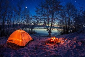 Winter Camping Tent by Lake