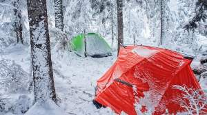 Winter tent camping
