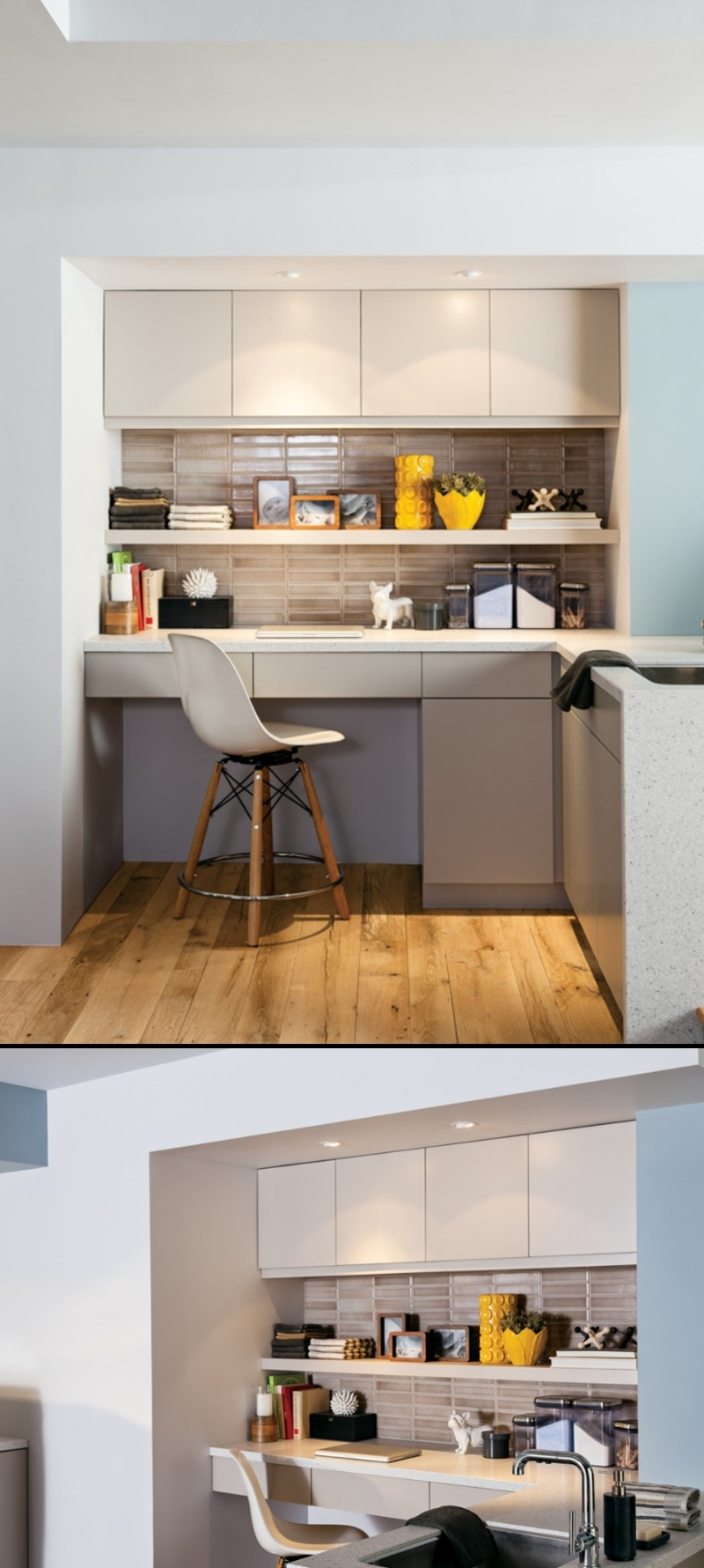 kitchen desks built in