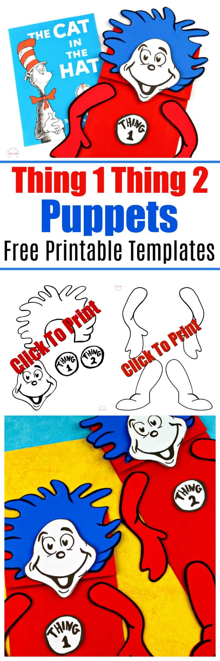 Thing 1 Thing 2 Puppets Dr Seuss Crafts Free Printable Must Have Mom