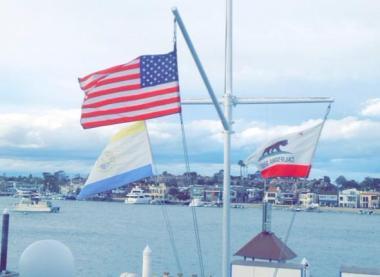 Flags in Newport Beach harbor