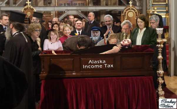 Art work depicting the income tax in a casket, with legislators surrounding it.