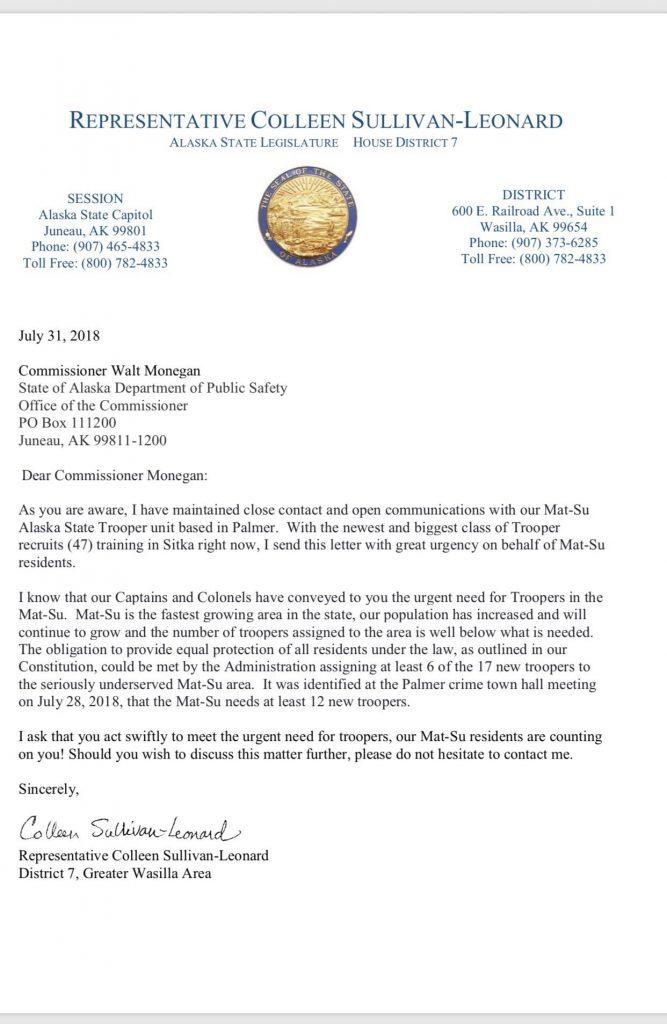 Sullivan-Leonard to DPS in urgent plea: Send 6 more Troopers