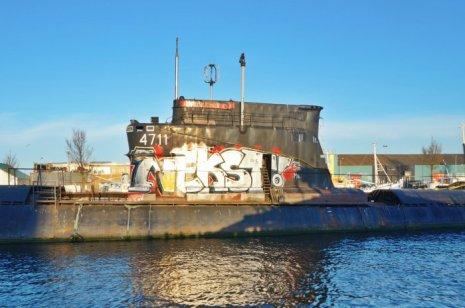 Grafittiy covered Submarine
